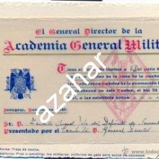 Militaria: ACADEMIA GENERAL MILITAR DE ZARAGOZA, INVITACION BAILE DE GALA, AÑO 1945. Lote 43301144