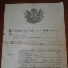 Militaria: 1888 VALENCIA. CONCESION PERMISO SOLDADO DEL BATALLON DE RESERVA Nº 42. Lote 43428271