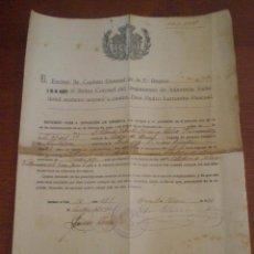 Militaria: 1926 HUESCA, CABEZA DE BUEY. CONCESION PASE RESERVA. SOLDADO. REGIMIENTO INFANTERIA VALLADOLID Nº 64. Lote 43428757