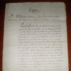 Militaria: 1872 MATANZAS (CUBA). COPIA MANUSCRITA DE CERTIFICADO REGIMIENTO INFANTERIA CUBA Nº 7. Lote 43428885