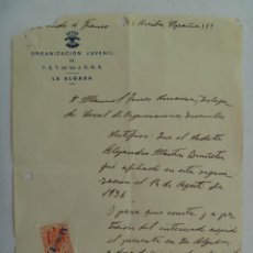 Militaria: FRENTE JUVENTUDES - FALANGE: CERTIFICADO DE MIEMBRO DESDE 1936 . LA ALGABA , SEVILLA, 1939 . Lote 43593793