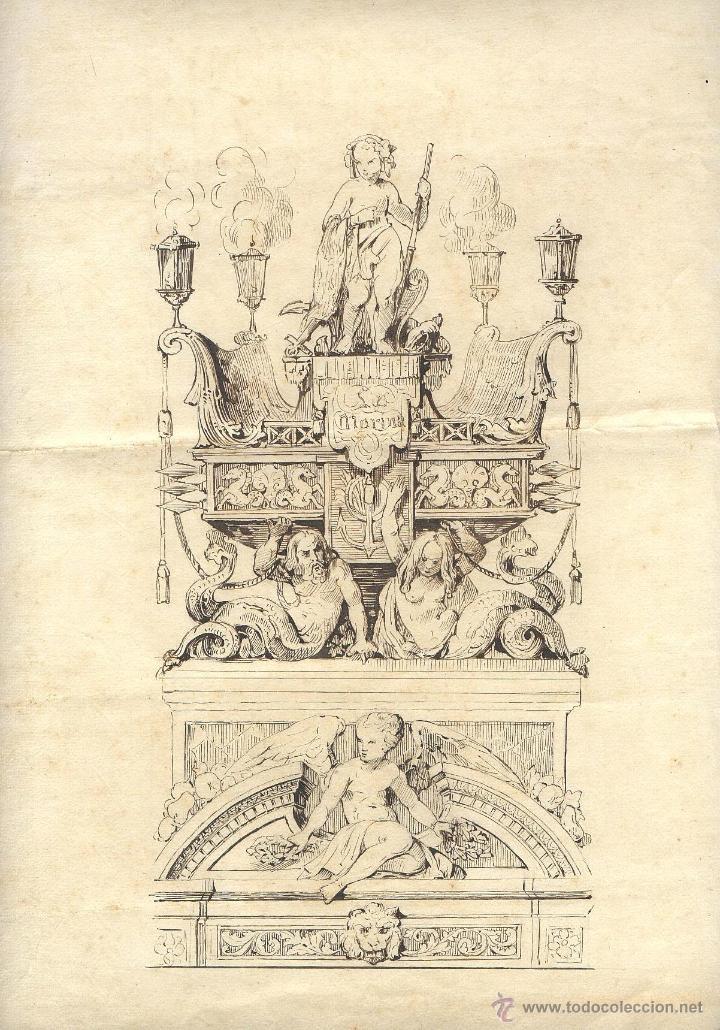 S. XVIII-XIX. DIBUJO ANONIMO A LA PLUMILLA: MONUMENTO ALEGÓRICO A 'LA MARINA'.SOBRE PAPEL A. ROMANI (Militar - Propaganda y Documentos)