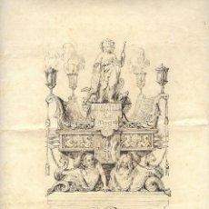 Militaria: S. XVIII-XIX. DIBUJO ANONIMO A LA PLUMILLA: MONUMENTO ALEGÓRICO A 'LA MARINA'.SOBRE PAPEL A. ROMANI. Lote 43609814