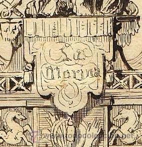 Militaria: S. XVIII-XIX. DIBUJO ANONIMO A LA PLUMILLA: MONUMENTO ALEGÓRICO A 'LA MARINA'.SOBRE PAPEL A. ROMANI - Foto 2 - 43609814