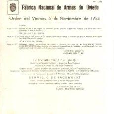 Militaria: ORDEN DEL DIA- FÁBRICA NACIONAL DE ARMAS DE OVIEDO, 1954. Lote 43724272
