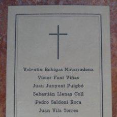 Militaria: ESTAMPA RECORDATORIO DE DEFUNCION A LOS CAIDOS (GUERRA 1936,SALLENT , FET , JONS) 1942. Lote 43785814