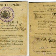 Militaria: CARTILLA MILITAR Y HOJA DE CONCENTRACION AÑO 1925 EPOCA DE ALFONSO XIII. Lote 43835519