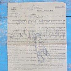 Militaria: CIRCULAR DE LA ORGANIZACIÓN NACIONAL SINDICALISTA - JEFATURA TERRITORIAL PALMA MALLORCA LOPEZ BASSA. Lote 43928811