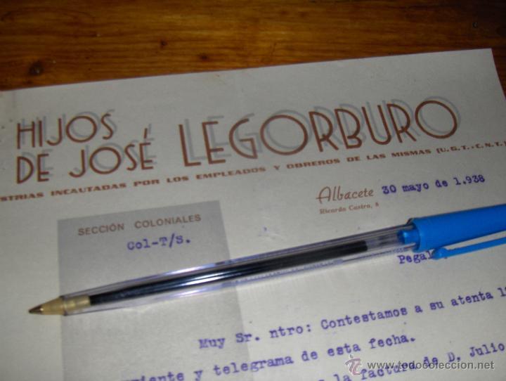 HIJOS DE JOSE LEGORBURO, INDUSTRIAS INCAUTADAS POR LOS EMPLEADOS, UGT CNT. ALBACETE 1938. (Militar - Propaganda y Documentos)
