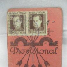 Militaria - Falange Española. Carnet Provisional. - 160195560
