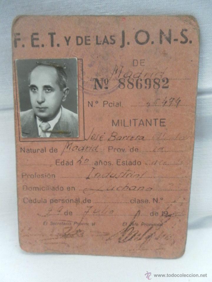 Militaria: Falange Española. Carnet Provisional. - Foto 2 - 160195560