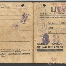 Militaria: GUERRA CIVIL AÑO 1937-CARNET FAMILIAR DE RACIONAMENT-GENERALITAT -MUCHOS TAMPONES VER FOTOS-(V-1033). Lote 44077332