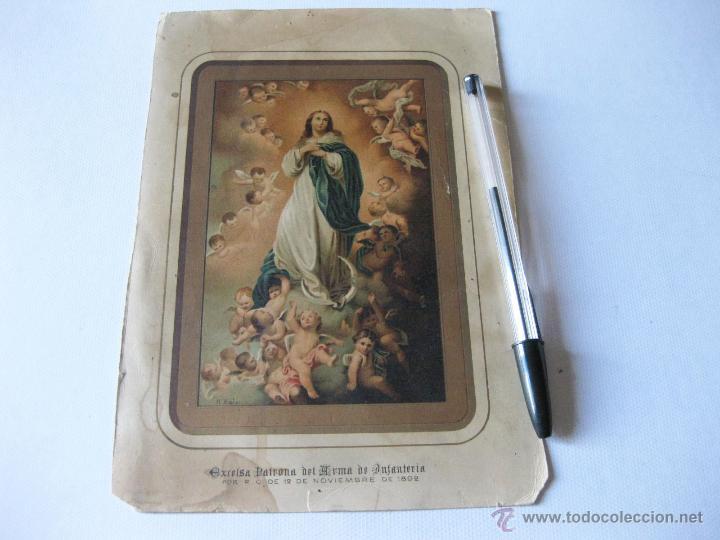 LAMINA DE LA PATRONA DEL ARMA DE INFANTERIA CON SALVE DEL ARMA POR DETRAS. 1892 (Militar - Propaganda y Documentos)