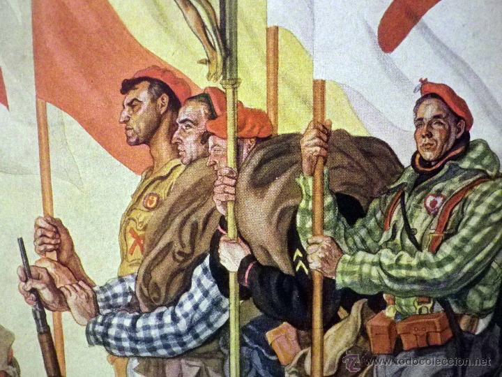 HERMOSA LAMINA, PARA ENMARCAR, REQUETES, LOS ABANDERADOS DEL TERCIO DE LACAR, SAENZ DE TEJADA (Militar - Propaganda y Documentos)