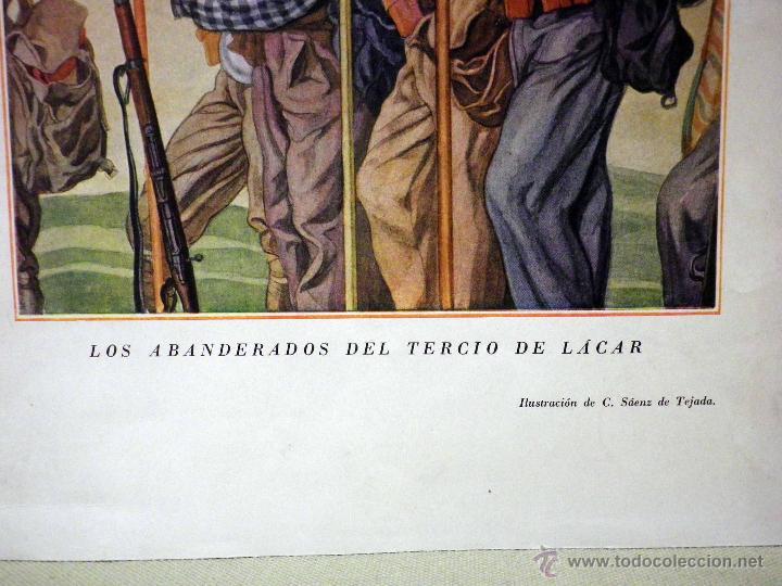 Militaria: HERMOSA LAMINA, PARA ENMARCAR, REQUETES, LOS ABANDERADOS DEL TERCIO DE LACAR, SAENZ DE TEJADA - Foto 3 - 44281189