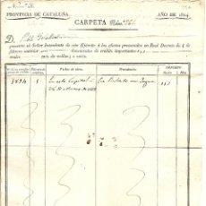 Militaria: BARCELONA - RESGUARDO OFICIAL DEL INTENDENTE DEL EJÉRCITO, VICENTE FRÍGOLA - AÑO 1824. Lote 44445559