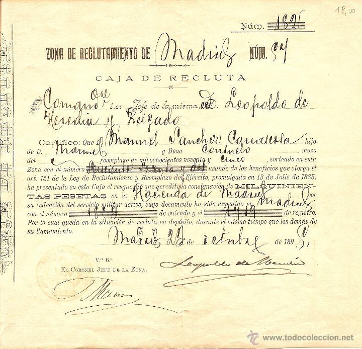 MADRID - CERTIFICADO DE LA CAJA DE RECLUTAMIENTO DE MADRID - FECHADO AÑO 1895 (Militar - Propaganda y Documentos)