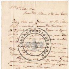 Militaria: ELIAS YTURRIA - CARTA AUTOGRAFO DESDE EL FUERTE DE VIDASOA DURANTE LA 1ª GUERRA CARLISTA 1835. Lote 44461385