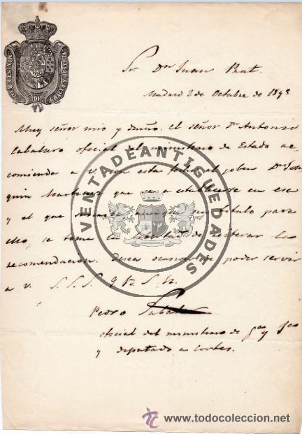 PEDRO SABATER, CARTA DEL JEFE POLITICO Y ESPOSO DE GERTRUDIS GOMEZ DE AVENALLEDA, 1845 (Militar - Propaganda y Documentos)