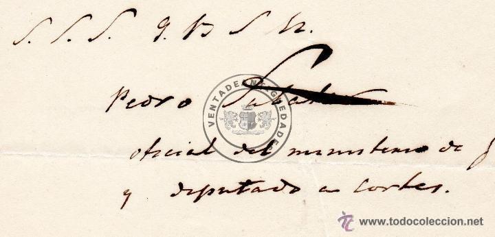 Militaria: PEDRO SABATER, CARTA DEL JEFE POLITICO Y ESPOSO DE GERTRUDIS GOMEZ DE AVENALLEDA, 1845 - Foto 2 - 44461418