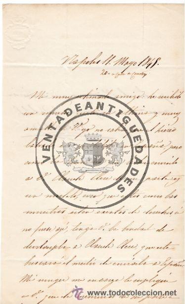 JOSE MARIA ALVAREZ DE TOLEDO Y ACUÑA - DUQUE DE BIVONA - CARTA AUTOGRAFO DE 1845 (Militar - Propaganda y Documentos)