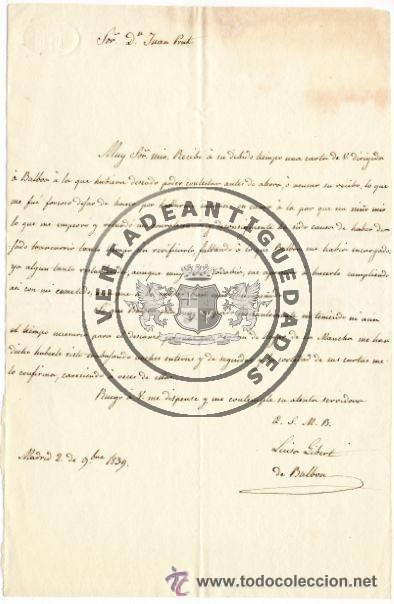 LUISA GIBERT - ESPOSA DE TRINIDAD BALBOA - CARTA AUTOGRAFO DE 1839 (Militar - Propaganda y Documentos)
