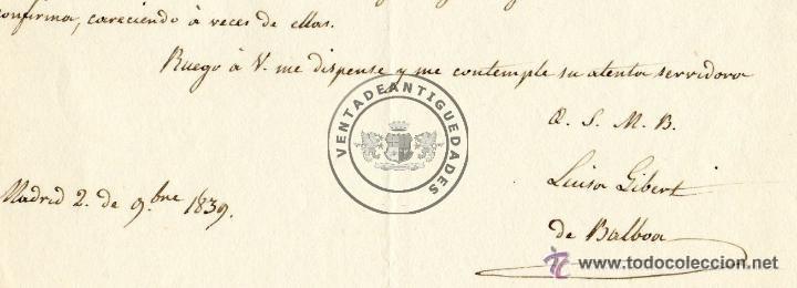 Militaria: LUISA GIBERT - ESPOSA DE TRINIDAD BALBOA - CARTA AUTOGRAFO DE 1839 - Foto 2 - 44461451