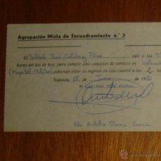 Militaria: CERTIFICADO DE COMISIÓN DE SERVICIO DE LA AGRUPACIÓN MIXTA DE ENCUADRAMIENTO N° 3, VALENCIA, 1980. Lote 44632833