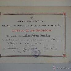 Militaria: DIPLOMA. AUXILIO SOCIAL. CURSO DE MATERNOLOGIA. AÑO 1944. FRANQUISMO.. Lote 44750005
