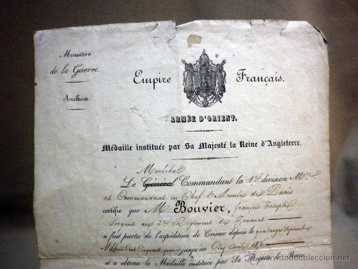 CERTIFICADO MEDALLA REINA INGLATERRA, EXPEDICIÓN DE CRIMEA, ZOUARES BATALLA DEL RIO ALMA, PARIS 1856 (Militar - Propaganda y Documentos)