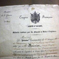 Militaria: CERTIFICADO MEDALLA REINA INGLATERRA, EXPEDICIÓN DE CRIMEA, ZOUARES BATALLA DEL RIO ALMA, PARIS 1856. Lote 44869026