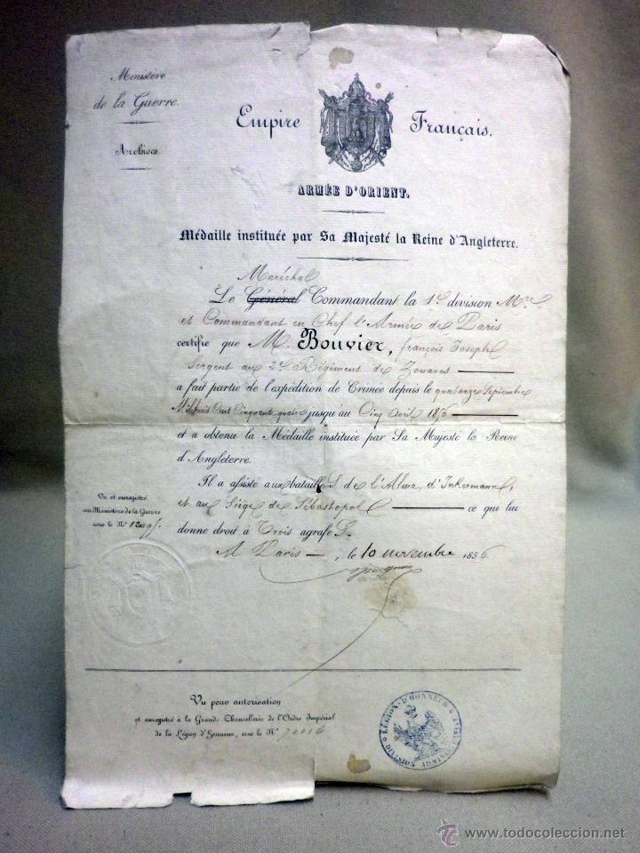 Militaria: CERTIFICADO MEDALLA REINA INGLATERRA, EXPEDICIÓN DE CRIMEA, ZOUARES BATALLA DEL RIO ALMA, PARIS 1856 - Foto 2 - 44869026