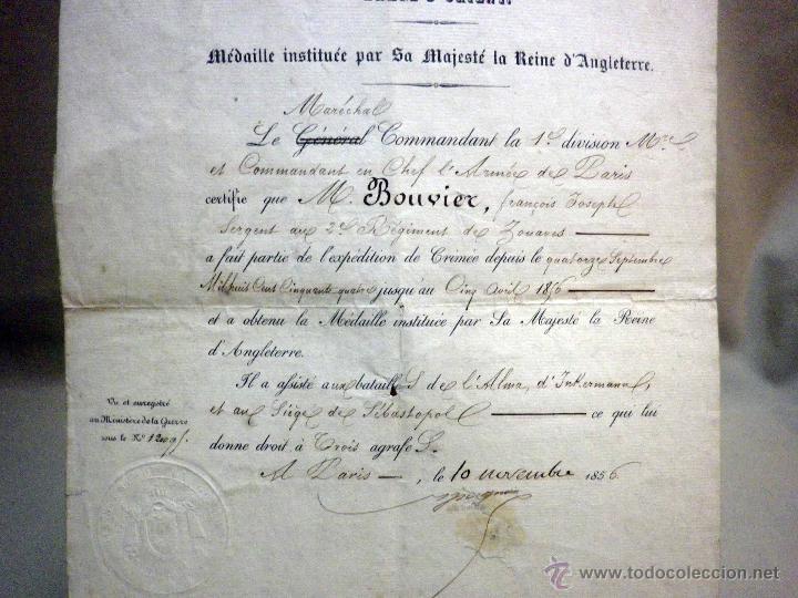 Militaria: CERTIFICADO MEDALLA REINA INGLATERRA, EXPEDICIÓN DE CRIMEA, ZOUARES BATALLA DEL RIO ALMA, PARIS 1856 - Foto 3 - 44869026