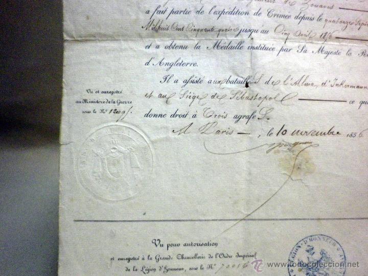 Militaria: CERTIFICADO MEDALLA REINA INGLATERRA, EXPEDICIÓN DE CRIMEA, ZOUARES BATALLA DEL RIO ALMA, PARIS 1856 - Foto 4 - 44869026