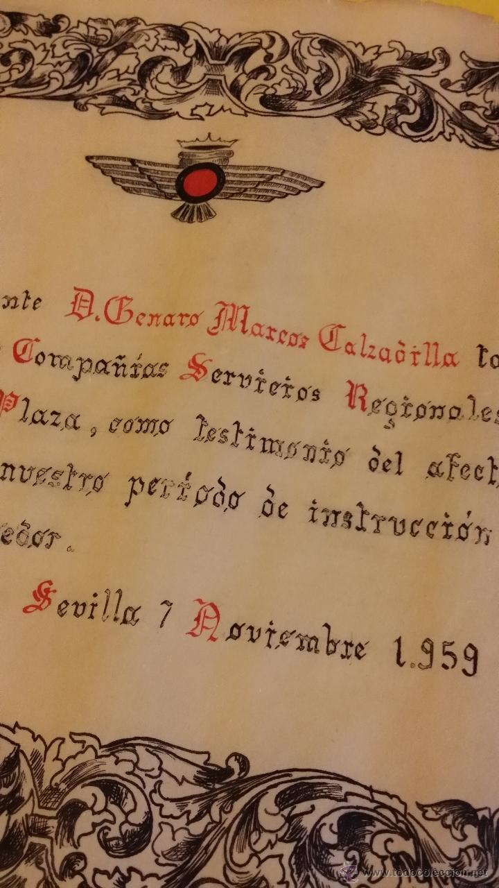 Militaria: DIPLOMA EJERCITO AIRE EPOCA FRANCO, A TENIENTE de fecha 7-11-1959, PARECE ESCRITO A MANO, ROKISKI - Foto 3 - 44888894