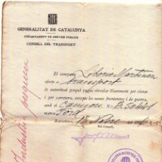 Militaria: GUERRA CIVIL ESPAÑOLA,REPUBLICA,SALVOCONDUCTO PARA CONDUCIR CAMION FORD POR BARCELONA,GENERALITAT DE. Lote 44902361