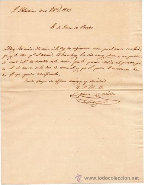 GENERAL RAMON REBOLLO - 1ª GUERRA CARLISTA - CARTA AUTOGRAFO DE 1836 - 1C (Militar - Propaganda y Documentos)