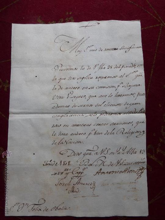 IMPORTANTE CARTA ORIGINAL DE LA GUERRA INDEPENDENCIA ESPAÑOLA 13 JUNIO 1808 ALBA DE TORMES / BAYONA (Militar - Propaganda y Documentos)