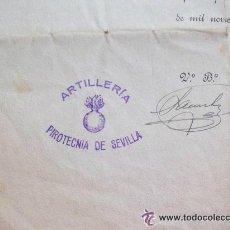 Militaria: ARTILLERIA , PIROTECNIA DE SEVILLA . CERTIFICADO DE TRABAJO . SEVILLA , 1940 .. Lote 45234042