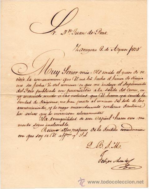 GENERAL FELIPE MONTES - CAPITAN GENERAL DE ARAGON - CARTA AUTOGRAFO DE 1835 - 1ª GUERRA CARLISTA (Militar - Propaganda y Documentos)