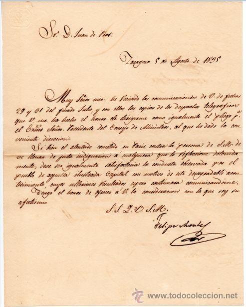 GENERAL FELIPE MONTES - CAPITAN GENERAL DE ARAGON - CARTA AUTOGRAFO DE 1835 - 1ª GUERRA CARLISTA - 3 (Militar - Propaganda y Documentos)