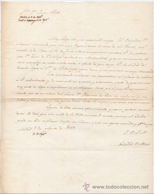 GENERAL TRINIDAD BALBOA - MINISTRO Y JEFE DE POLICIA EN MADRID CARTA AUTOGRAFO 1839 GUERRA CARLISTA (Militar - Propaganda y Documentos)