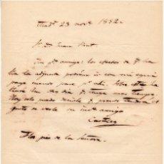 Militaria - GENERAL CASTILLO - IGNACIO MARIA DEL CASTILLO? - CARTA AUTOGRAFO DE 1852 - 45269093