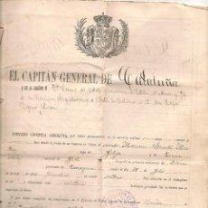 Militaria: LICENCIA DE SOLDADO ESPAÑOL QUE INTERVINO EN LA GUERRA DE CUBA. EXPEDIDA EL 29 DE MAYO DE 1903. Lote 45328460