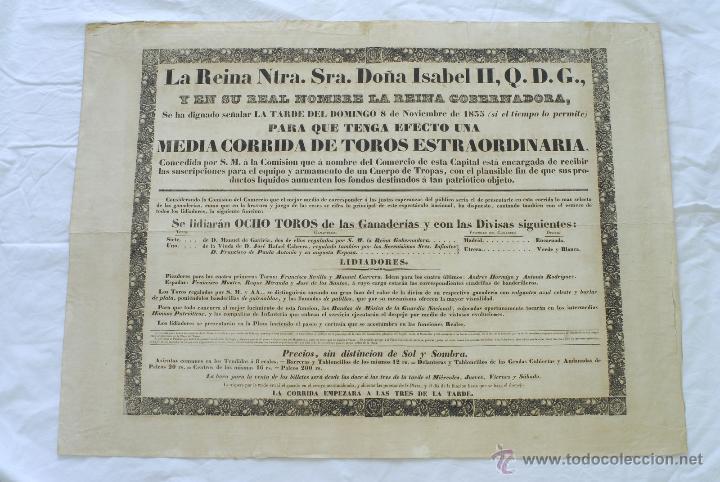 CORRIDA DE TOROS PARA DOTAR DE EQUIPO Y ARMAMENTO CUERPO DE TROPAS 1835. GUERRA CARLISTA. ISABEL II. (Militar - Propaganda y Documentos)