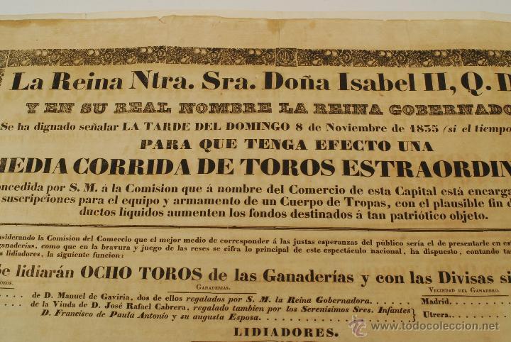 Militaria: Corrida de Toros para dotar de equipo y armamento Cuerpo de Tropas 1835. Guerra Carlista. Isabel II. - Foto 3 - 45335973