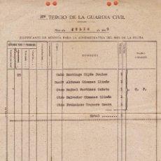 Militaria: DOCUMENTO - JUSTIFICANTE DE REVISTA - 32º TERCIO DE LA GUARDIA CIVIL - RINCON DE SALOU - JULIO 1949. Lote 45342235