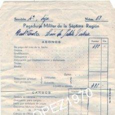 Militaria: VALLADOLID,1943, PAGADURIA TENIENTE CORONEL DE CABALLERIA. Lote 45518286