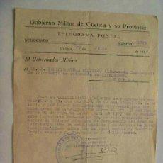 Militaria: TELEGRAMA POSTAL GOBIERNO MILITAR DE CUENCA . NOTIFICACION A MILITAR DEL WAD RAS . 1948 .... Lote 45564468