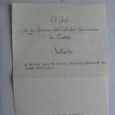 Militaria: SALUDA DEL JEFE SECCION CABALLOS SEMENTALES DE TUDELA A TTE.CORONEL. 1956.. Lote 45574063